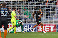 GOAL!!! Curtis Weston of Barnet scores to equalise and leaves Goalkeeper Sam Walker of Colchester United holding his head in his hands during the EFL Sky Bet League 2 match between Barnet and Colchester United at The Hive, London, England on the 17th September 2016. Photo by Liam McAvoy.