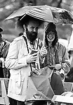 AP Photographer, Richard Drew, among those waiting in the rain for the arrival of Pope John Paul II on a visit to Battery Park in lowere Manhatten, NY on October 3, 1979. Photo by Jim Peppler. Copyright Jim Peppler-Newsday/1979