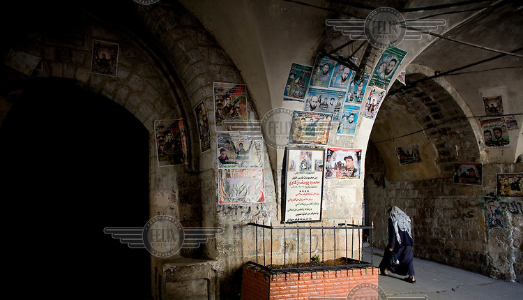 Posters of 'martyrs' on arches in the old city of Nablus