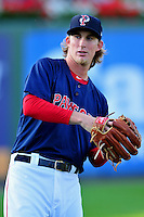 Pawtucket Red Sox starting pitcher Henry Owens (37) prior to a game versus the Columbus Clippers at McCoy Stadium in Pawtucket, Rhode Island on August 4, 2014. (Ken Babbitt/Four Seam Images)