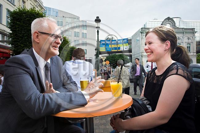 BRUSSELS - BELGIUM - 18 June 2013 -- MEP Petri SARVAMAA Group of the European People's Party (Christian Democrats - Finland Kansallinen Kokoomus) being interviewed by Laura MULARI on Place Luxembourg. -- PHOTO: Juha ROININEN /  EUP-IMAGES
