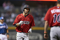 Jacob Stallings (32) of the Indianapolis Indians rounds third base after hitting his second home run of the game against the Charlotte Knights at BB&T BallPark on April 27, 2019 in Charlotte, North Carolina. The Indians defeated the Knights 8-4. (Brian Westerholt/Four Seam Images)
