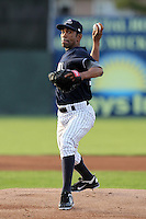 Empire State Yankees pitcher Ramon Ortiz #35 delivers a pitch during a game against the Norfolk Tides in the first ever Triple-A contest to be held at Dwyer Stadium on April 20, 2012 in Batavia, New York.  (Mike Janes/Four Seam Images)