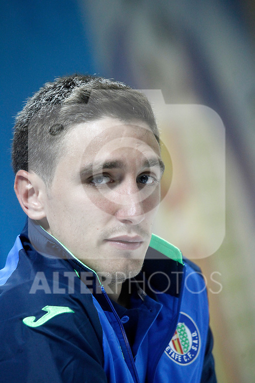 Getafe's Stefan Scepovic in press conference after La Liga match.September 18,2015. (ALTERPHOTOS/Acero)