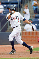 Deven Marrero #17 (Arizona State) of the USA Baseball Collegiate National Team follows through on his swing against the Japan Collegiate National Team at the Durham Bulls Athletic Park on July 3, 2011 in Durham, North Carolina.  USA defeated Japan 7-6.  (Brian Westerholt / Four Seam Images)