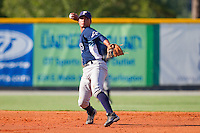 Shortstop Felix Gonzalez #7 of the Princeton Rays makes a throw to first base against the Burlington Royals at Burlington Athletic Stadium July 11, 2010, in Burlington, North Carolina.  Photo by Brian Westerholt / Four Seam Images