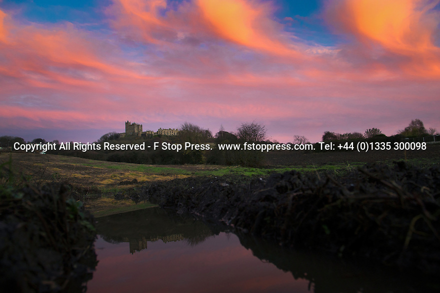 23/11/14<br /> <br /> A winter sky frames Bolsover Castle, Derbyshire, as the final light of the day gives way to forecast fog and freezing temperatures.<br /> ***ANY UK EDITORIAL PRINT USE WILL ATTRACT A MINIMUM FEE OF £130. THIS IS STRICTLY A MINIMUM. USUAL SPACE-RATES WILL APPLY TO IMAGES THAT WOULD NORMALLY ATTRACT A HIGHER FEE .  PRICE FOR WEB USE WILL BE NEGOTIATED SEPARATELY***<br /> <br /> <br /> All Rights Reserved - F Stop Press.  www.fstoppress.com. Tel: +44 (0)1335 300098