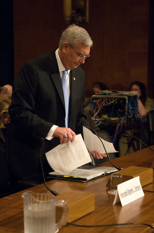 EPA Administrator Stephen Johnson before the start of the full committee hearing on the implications of the Supreme Court's decision regarding the EPA (EPA) authorities with respect to greenhouse gases under the Clean Air Act..