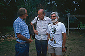 Altamira, Para State, Brazil. Ed Posey, Jose Lutzenberger and Guardian journalist Walter Schwartz at the Tribal Gathering against the proposed Krarao hydroelectric dam, February 1989.