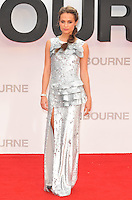 Alicia Vikander at the &quot;Jason Bourne&quot; European film premiere, Odeon Leicester Square cinema, Leicester Square, London, England, UK, on Monday 11 July 2016.<br /> CAP/CAN<br /> &copy;CAN/Capital Pictures /MediaPunch ***NORTH AND SOUTH AMERICAS ONLY***