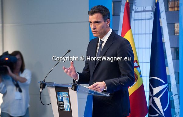 Belgium, Brussels - July 12, 2018 -- NATO summit, meeting of Heads of State / Government; here, Pedro SÁNCHEZ (Sanchez), Prime Minister of Spain, during his press conference -- Photo © HorstWagner.eu