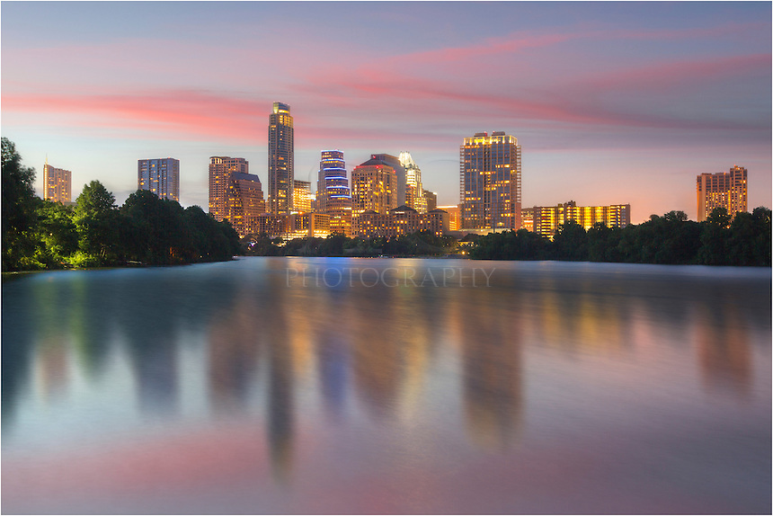 Taken from the newly constructed Ladybird Lake Boardwalk, this image shows the downtown Austin skyline on a summer evening. On the far left, you can see the 360 Condos. The tallest building is the Austonian, and peeking around the back is the Austin icon, the Frost Bank Tower.