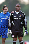 24 August 2004: Nick Garcia (3) and Bo Oshoniyi (25) before the game. The Kansas City Wizards defeated the San Jose Earthquakes 1-0 at Blue Valley District Athletic Complex in Overland Park, KS in a semifinal game in the 2004 Lamar Hunt U.S. Open Cup..