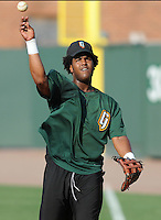 June 5, 2008: Infielder Angel Villalona (31) of the Augusta GreenJackets, Class A affiliate of the San Francisco Giants, prior to a game against the Greenville Drive at Fluor Field at the West End in Greenville, S.C. Photo by:  Tom Priddy/Four Seam Images
