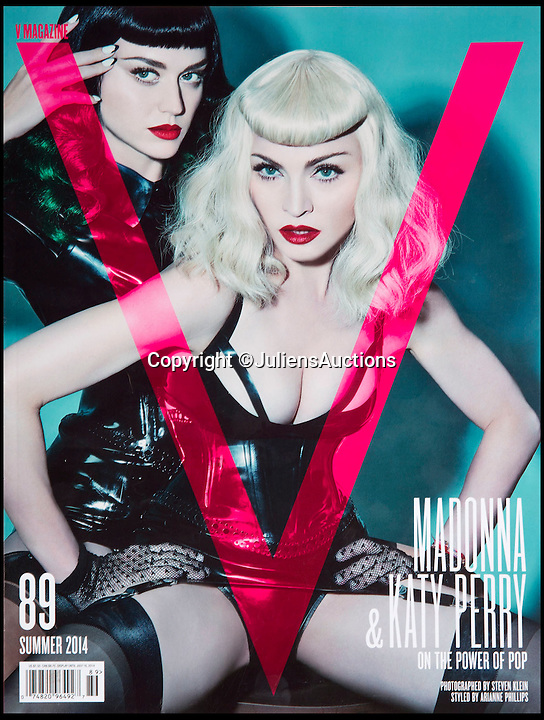 BNPS.co.uk (01202 558833)<br /> Pic: JuliensAuctions/BNPS<br /> <br /> ***Please Use Full Byline***<br /> <br /> The front cover of V Magazine (summer 2014), where Madonna wore the Atsuko Kudo couture latex black waspie (corset). She appears with Katy Perry. <br /> <br /> A British hedge fund company is about to cash-in on a surprisingly-secure investment - Madonna.<br /> <br /> Marquee Capital was launched in 2005 looking for investors to raise a six-figure kitty to snap up celebrity memorabilia.<br /> <br /> The organisation bought more than 140 Madonna items, mostly costumes and jewellery, she wore during her movie and singing career.<br /> <br /> The goods included dozens of outfits from the 1996 hit musical Evita as well as the star's peach baseball dress and glove from her 1992 movie 'A League of Their Own' and a vest top and jeans she wore for her music video of American Pie.<br /> <br /> The sale takes place at LA-based Julien's Auctions on November 7.
