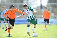 VOETBAL: JOURE: Sportpark de Hege Simmerdyk, 20-04-2013, Amateurvoetbal 2012-2013, SC Joure zat. afd. - VV Oudehaske, Mark Nicolai (#6)  Ruben Douma (#6), Eindstand 1-1, ©foto Martin de Jong