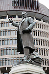 New Zealand, North Island, Wellington,  statue of early prime minister Richard John Seddon. Photo copyright Lee Foster. Photo #126534