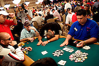 Players compete at the 36th annual World Series of Poker at the Rio on Sunday July 10, 2005 in Las Vegas, Nevada. Saturday marked day 4 of the no-limit Texas hold'em main event. Approximately 5,600 players are competing for a chance to win the first-place prize of roughly $7.5 million. (Photo by Landon Nordeman)