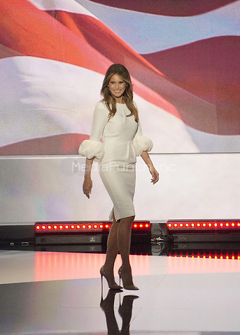 Melania Trump arrives to make remarks at the 2016 Republican National Convention at the Quicken Loans Arena in Cleveland, Ohio on Monday, July 18, 2016.<br /> Credit: Ron Sachs / CNP/MediaPunch<br /> (RESTRICTION: NO New York or New Jersey Newspapers or newspapers within a 75 mile radius of New York City)