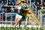 David Clifford Kerry in action against Caolan Ward Donegal in the Allianz Football League Division 1 Round 1 match between Kerry and Donegal at Fitzgerald Stadium in Killarney, Co. Kerry.