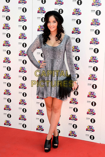 Jacqueline Jossa.BBC Radio 1 'Teen Awards 2012' at Wembley Arena, London, England. .7th October 2012.full length grey gray leopard print dress black hat clutch bag open toe shoes boots ankle booties  hand on hip.CAP/ROS.©Steve Ross/Capital Pictures.