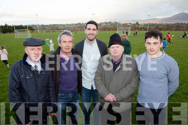 Kerry footballers Bryan Sheehan and Paul Murphy and Michael healy Rae joined Liam Warren Secretary and Tadhg O'Donoghue Chairman  for the launch of the Ballyduff Sportsfield 300 club on Friday evening