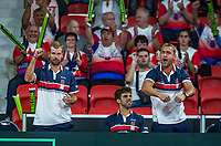 The Hague, The Netherlands, September 15, 2017,  Sportcampus , Davis Cup Netherlands - Chech Republic, Seccond Rubber: Lukas Rosol (CZE) is supported by his teammembers<br /> Photo: Tennisimages/Henk Koster
