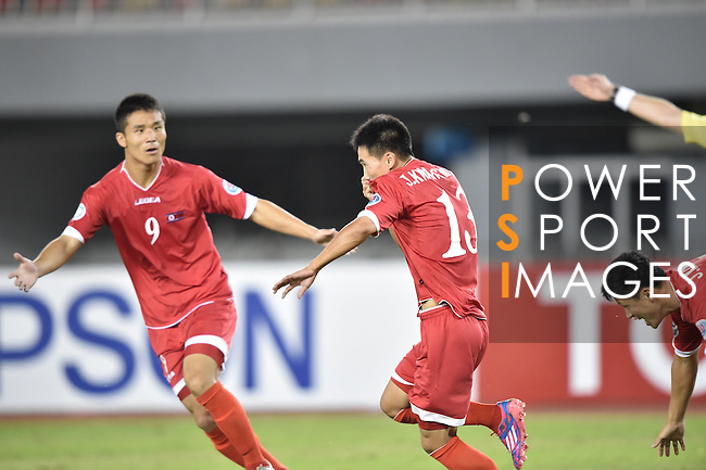 DPR Korea vs Qatar during the 2014 AFC U19 Mens Championship group D match on October 10, 2015 at the Wunna Theikdi Stadium in Nay Pyi Taw, Myanmar. Photo by World Sport Group