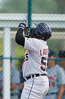 Detroit Tigers Luis Laurencio (55) celebrates after hitting a home run during a Florida Instructional League game against the Pittsburgh Pirates on October 2, 2018 at the Pirate City in Bradenton, Florida.  (Mike Janes/Four Seam Images)