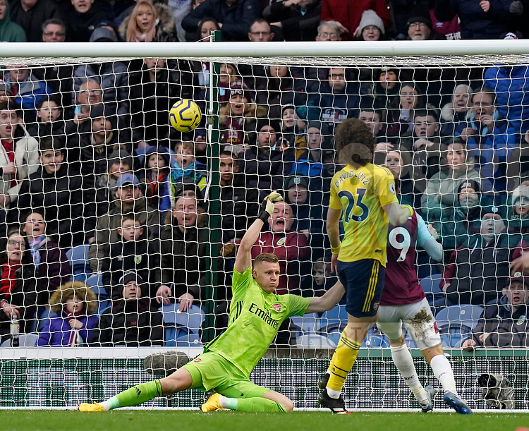 Jay Rodriguez of Burnley shot hits the bar and bounces out during the Premier League match at Turf Moor, Burnley. Picture date: 2nd February 2020. Picture credit should read: Andrew Yates/Sportimage