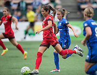 Seattle, WA - Saturday Aug. 27, 2016: Nadia Nadim, Lauren Barnes during a regular season National Women's Soccer League (NWSL) match between the Seattle Reign FC and the Portland Thorns FC at Memorial Stadium.