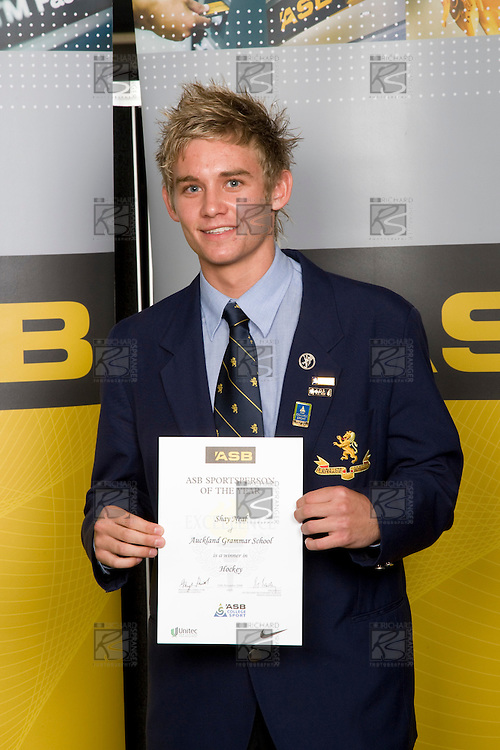 Boys Hockey winner Shay Neal from Auckland Grammar School. ASB College Sport Young Sportperson of the Year Awards 2008 held at Eden Park, Auckland, on Thursday November 13th, 2008.