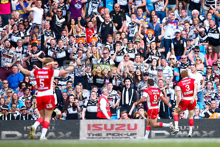 Picture by Alex Whitehead/SWpix.com - 17/05/2014 - Rugby League - First Utility Super League - 2014 Magic Weekend - Hull KR v Hull FC - Etihad Stadium, Manchester - Hull KR's Josh Hodgson celebrates his try.
