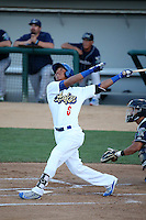 Ariel Sandoval (6) of the Rancho Cucamonga Quakes bats against the Stockton Ports at LoanMart Field on July 3, 2016 in Rancho Cucamonga, California. Rancho Cucamonga defeated Stockton, 2-1. (Larry Goren/Four Seam Images)