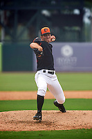 GCL Orioles pitcher Jan Novak (38) delivers a pitch during the first game of a doubleheader against the GCL Rays on August 1, 2015 at the Ed Smith Stadium in Sarasota, Florida.  GCL Orioles defeated the GCL Rays 2-0.  (Mike Janes/Four Seam Images)