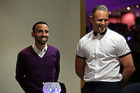 Pictured L-R: Leon Britton and Lee Trundle Thursday 08 April 2016<br />Re: Zimkids dinner at the Liberty Stadium, Swansea, UK