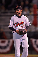 Visalia Rawhide relief pitcher Kevin McCanna (23) walks off the mound between innings of a California League game against the San Jose Giants on April 12, 2019 at San Jose Municipal Stadium in San Jose, California. Visalia defeated San Jose 6-2. (Zachary Lucy/Four Seam Images)