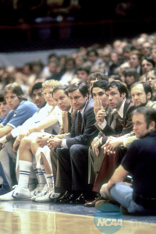 28 MAR 1977:  North Carolina coach Dean Smith coaches from the bench during the 1977 NCAA Final Four Championship game against Marquette in Atlanta, GA at the Omni.  North Carolina lost the game 67-59.  Photo Copyright Rich Clarkson