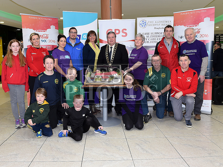 Mayor of Drogheda paul Bell, Siobhan Shortt Coca Cola, Noel Rodigruez Energie, Ann Shortt Alzheimer Society and members of Drogheda AC and Boyne AC pictured at the launch of the 2016 Boyne 10K in the laurence Town Centre. Photo:Colin Bell/pressphotos.ie