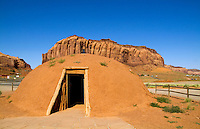 Ancient Cherokee Indian homes called hogan homes, Monument Valley, Utah, USA