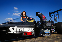 Jul 6, 2017; Joliet, IL, USA; NHRA top alcohol dragster driver Krista Baldwin poses for a portrait prior to the Route 66 Nationals at Route 66 Raceway. Mandatory Credit: Mark J. Rebilas-USA TODAY Sports