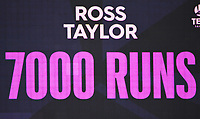 3rd December, Hamilton, New Zealand;  Ross Taylor's accumulation of 7000 runs on day 5 of the 2nd test cricket match between New Zealand and England at Seddon Park, Hamilton, New Zealand.