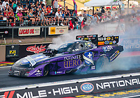 Jul 20, 2018; Morrison, CO, USA; NHRA funny car driver Jack Beckman during qualifying for the Mile High Nationals at Bandimere Speedway. Mandatory Credit: Mark J. Rebilas-USA TODAY Sports