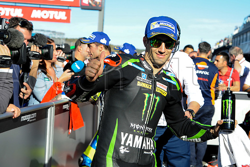 11th November 2017, Gran Premio Motul de la Comunitat Valenciana, Valencia, Spain; MotoGP of Valencia, Saturday qualifying; Johann Zarco at parc ferme