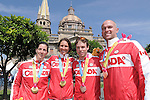 November 13 2011 - Guadalajara, Mexico: Robbi Weldon with pilot Lyne Bessette and Daniel Chalifour with his pilot Ed Veal after receiving their medals at the 2011 Parapan American Games in Guadalajara, Mexico.  Photos: Matthew Murnaghan/Canadian Paralympic Committee