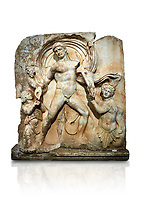 Roman Sebasteion rrelief  sculpture of Emperor Claudius as God of sea and land,  Aphrodisias Museum, Aphrodisias, Turkey.   Against a white background.<br /> <br /> The Emperor as god Claudius strides forward in a divine epiphany, drapery billowing around his head. He receives a cornucopia with fruits of the earth from a figure emerging from the ground, anda ship's steering oar from a marine tritoness with fish legs. The idea is clear: the god-emperor guarantees the prosperity of land and sea. The relief is a remarkable local visualisation - elevated and panegyrical - of the emperor's role as a universal saviour and divine protector.