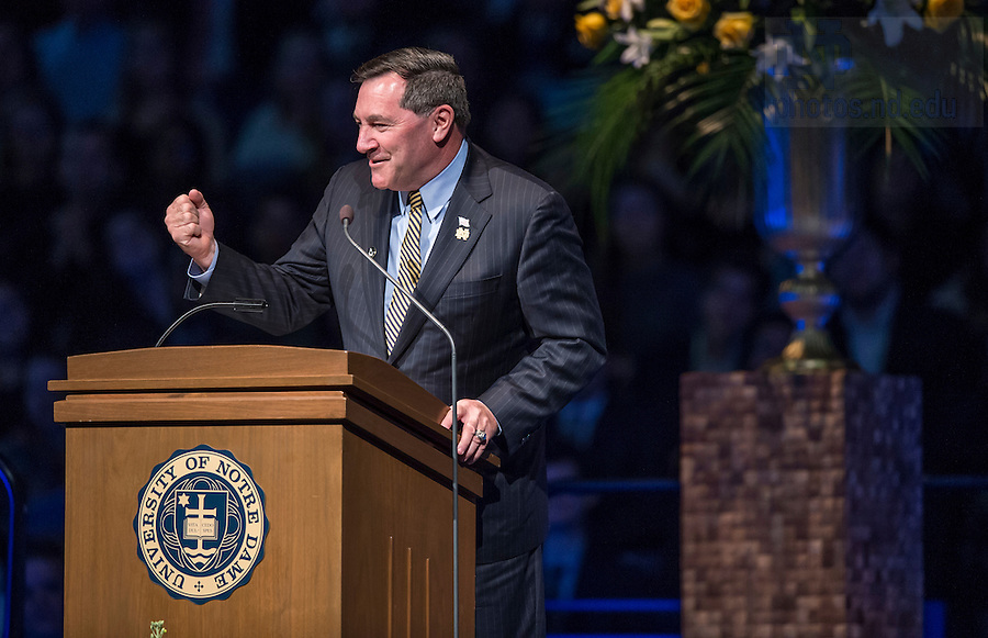Mar. 4, 2015; Senator Joe Donnelly speaks during a tribute ceremony in the Purcell Pavilion to honor the life of the late President Emeritus Rev. Theodore M. Hesburgh, C.S.C. (Photo by Barbara Johnston/University of Notre Dame)