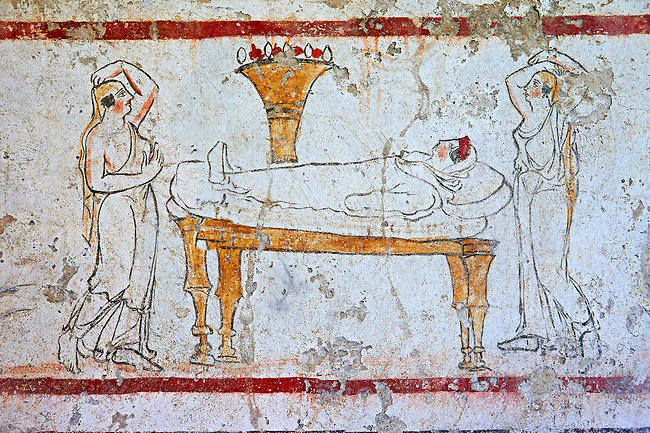 Lucanian fresco tomb painting of a dead women laid out on a bed . Paestrum, Andriuolo. Tomb n. 53 350-330 BC
