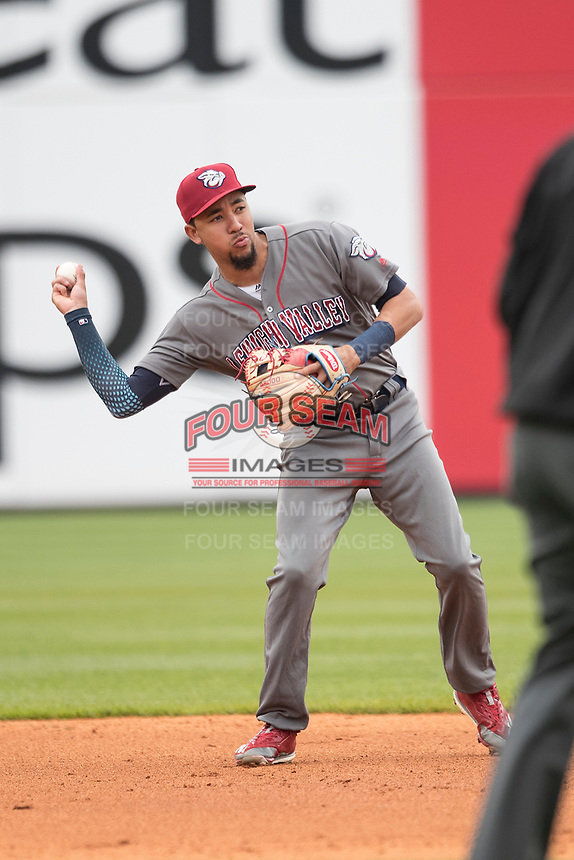 Lehigh Valley IronPigs shortstop JP Crawford (3) makes a throw to second base against the Toledo Mud Hens during the International League baseball game on April 30, 2017 at Fifth Third Field in Toledo, Ohio. Toledo defeated Lehigh Valley 6-4. (Andrew Woolley/Four Seam Images)