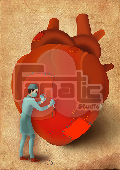 Male surgeon stitching heart with needle and thread depicting surgical treatment